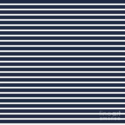 Digital Art - Nautical Navy And White Horizontal Stripes by Leah McPhail