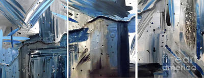 Abstract Handbag Painting - Nautical Nights Triptych by Jilian Cramb - AMothersFineArt