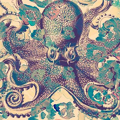 Tropical Digital Art - Nautical Octopus by Brandi Fitzgerald
