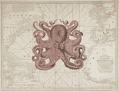Beach Decor Digital Art - Nautical Octopus Sea Chart by Erin Cadigan