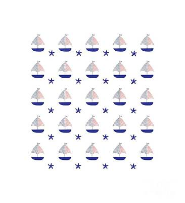 Nautical Pattern Sailboats Art Print