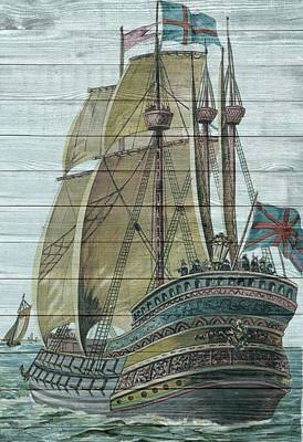 Painting - Nautical Sailing Ship by Joy of Life Arts Gallery