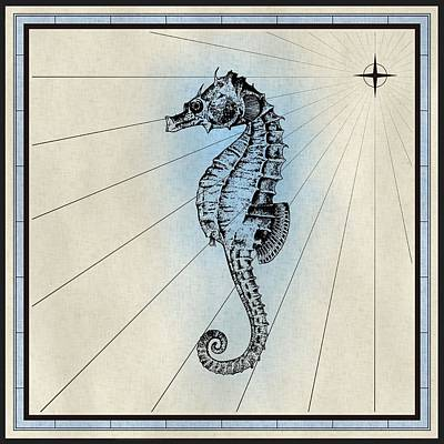 Mixed Media - Nautical Seahorse Print by Nautical Scenes