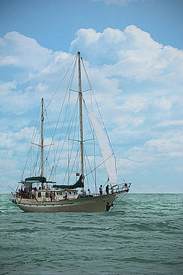 Photograph - Nautical - Ship - Sailing In Key West by Ron Grafe