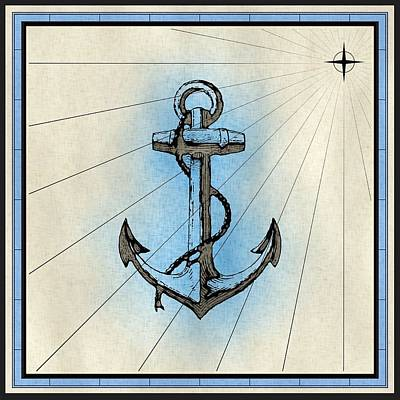Mixed Media - Nautical Ships Anchor Print by Nautical Scenes