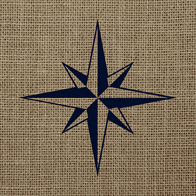 Beach Mixed Media - Nautical Star Burlap by Brandi Fitzgerald