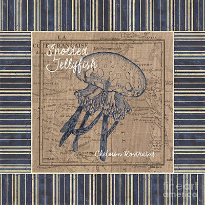 Seafood Mixed Media - Nautical Stripes Jellyfish by Debbie DeWitt