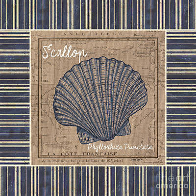 Shell Painting - Nautical Stripes Scallop by Debbie DeWitt