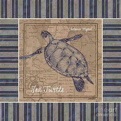 Ocean Turtle Mixed Media - Nautical Stripes Sea Turtle by Debbie DeWitt