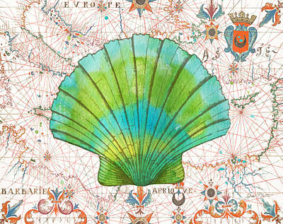 Print featuring the painting Nautical Treasures-b by Jean Plout