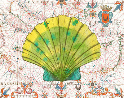 Print featuring the painting Nautical Treasures-d by Jean Plout