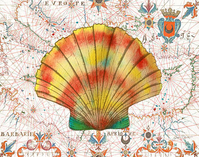 Print featuring the painting Nautical Treasures-f by Jean Plout