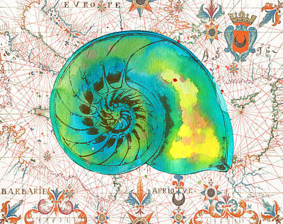 Print featuring the painting Nautical Treasures-n by Jean Plout