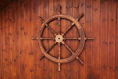 Painting - Nautical Wooden Ships Wheel On Wood Background by Vintage Nautical Art