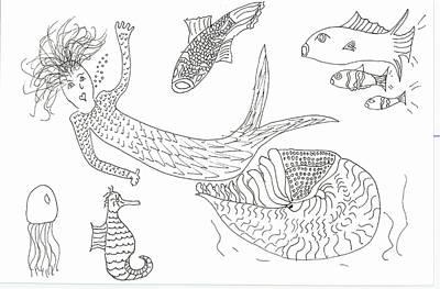 Nautilus And Hello Mermaid Art Print
