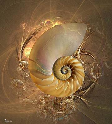 Digital Art - Nautilus Sea Shell by Ali Oppy