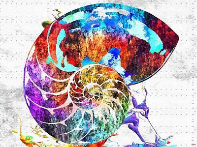 Nautilus Shell Grunge Art Print by Daniel Janda