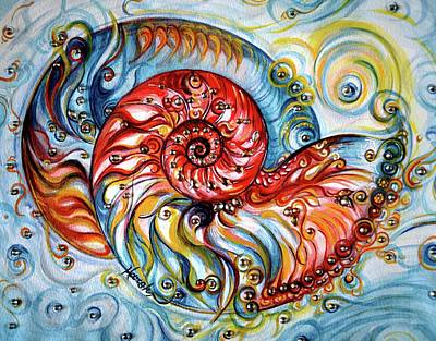 Painting - Nautilus Shell - Ocean by Harsh Malik