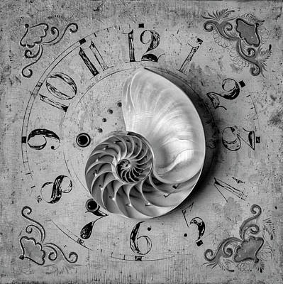 Photograph - Nautilus Shell On Old Clock Face by Garry Gay