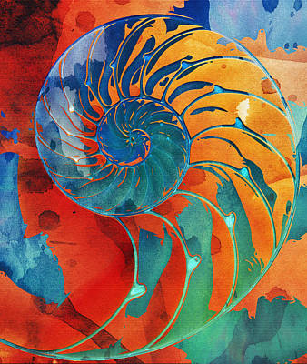 Nautilus Shell Orange Blue Green Art Print