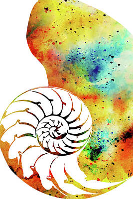 Digital Art - Nautilus Watercolor Art by Mihaela Pater
