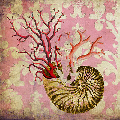 Nautilus With Coral Art Print