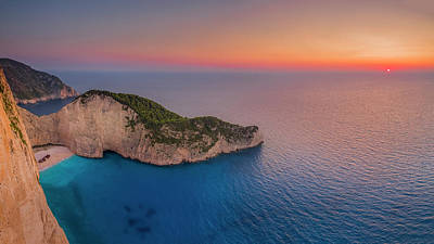 Photograph - Navagio Beach - Shipwreck Cove At Sunset by Kelvin Trundle