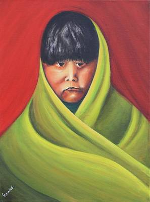 Navajo Child After E.s. Curtis Art Print