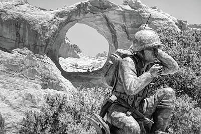 Photograph - Navajo Code Talker Monument - Window Rock Arizona - Black And White by Gregory Ballos
