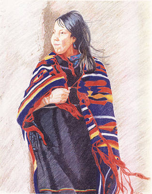 Navajo Girl Art Print by Karen Clark