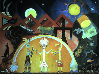 Ancient Indian Art Painting - Navajo Gods Dance The Creation Of The World by Willoughby Senior