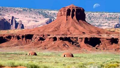 Digital Art - Navajo Hogans by Bob Shimer