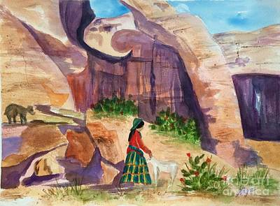 Painting - Navajo Woman And Sheep by Ellen Levinson