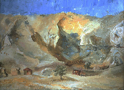 Navaho Painting - Navajo Landscape With Hogan Field Sketch by Willoughby Senior