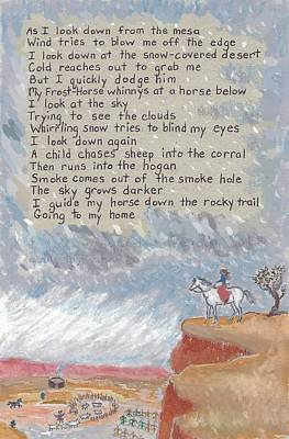 Mesa Drawing - Navajo Poem And Drawing From Childhood by Dawn Senior-Trask
