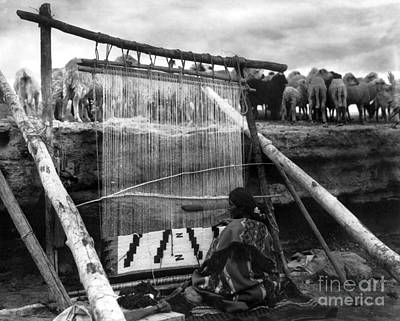 Flock Fabric Photograph - Navajo Weaver, C1915 by Granger