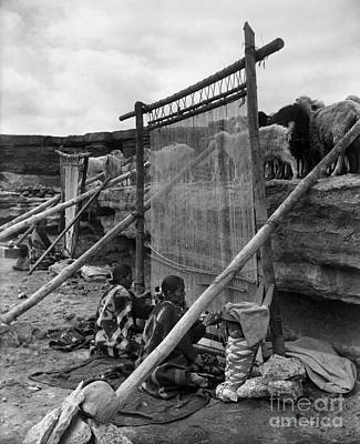 Flock Fabric Photograph - Navajo Weavers, C1914 by Granger