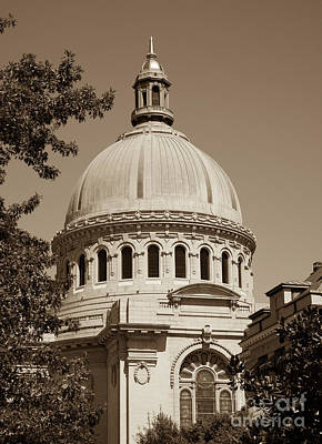Photograph - Naval Academy Chapel - Sepia by William Kuta