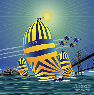 Digital Art - Naval Academy High Noon Sails by Joe Barsin