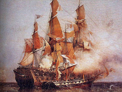 Confiance Painting - Naval Battle Between The Confiance And Hms Kent by PaintingAssociates