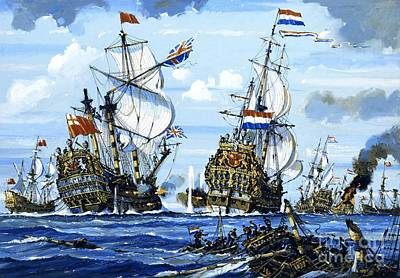 Old Sailing Ship Painting - Naval Battle by English School