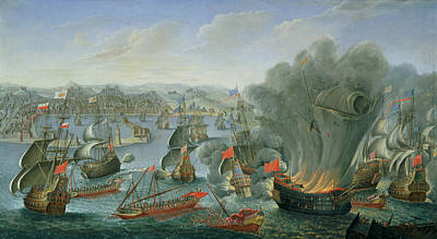 Naval Battle With The Spanish Fleet Art Print