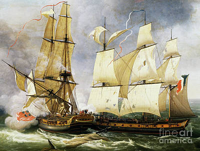 Naval Combat Between French Corvette La Bayonnaise And British Frigate L'embuscade Print by Jean-Francois Hue