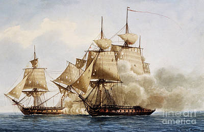 Water Vessels Painting - Naval Combat Between French Frigate Amazone And The Santa Margherita by Frederic Roux