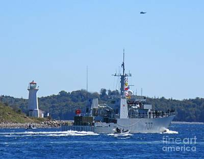 Military Base Painting - Naval Ship With Lighthouse And Helicopter In The Air by John Malone