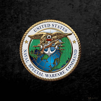 Digital Art - Naval Special Warfare Command - N S W C - Emblem Over Black Velvet by Serge Averbukh