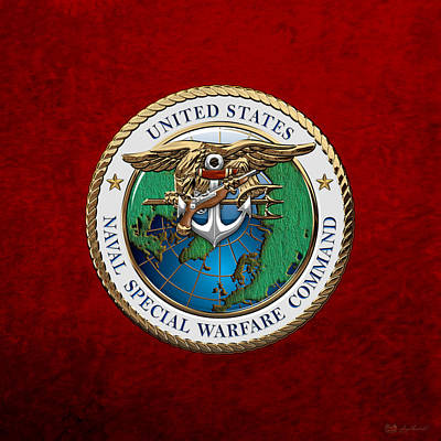 Digital Art - Naval Special Warfare Command -  N S W C - Emblem Over Red Velvet by Serge Averbukh