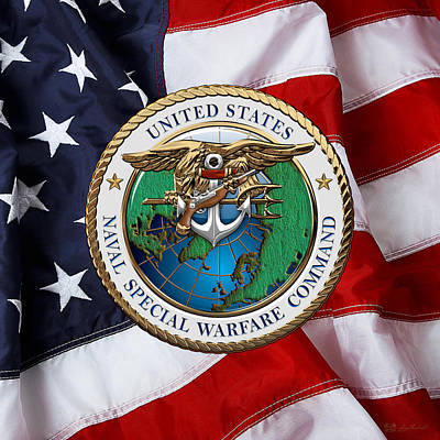 Digital Art - Naval Special Warfare Command - N S W C - Emblem Over U. S. Flag  by Serge Averbukh