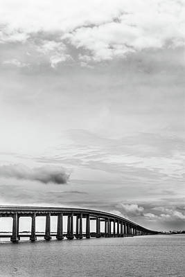 Navarre Beach Photograph - Navarre Bridge Monochrome by Shelby Young