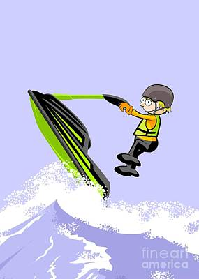 Bike Digital Art - Navigating Between Giant Waves In A Jet Ski by Daniel Ghioldi